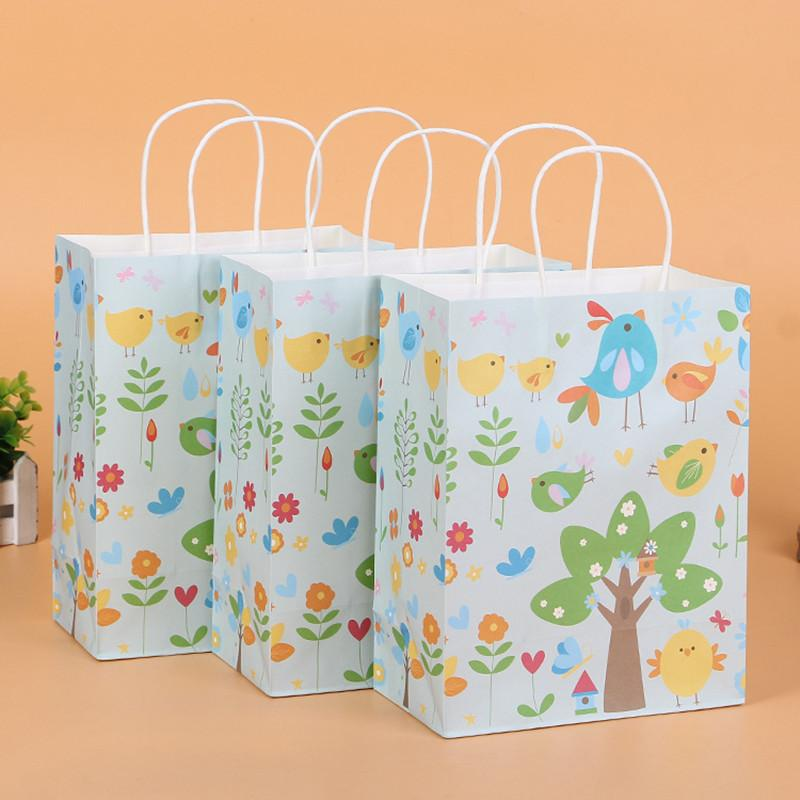 20pcs Cartoon Bird Paper Gift Bags For Kids Birthday Party Packing Bag With Handles Favor Accessories