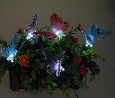 For cross-border 10LED simulation of optical fiber butterfly decorative lamp string animal shape solar lawn lights
