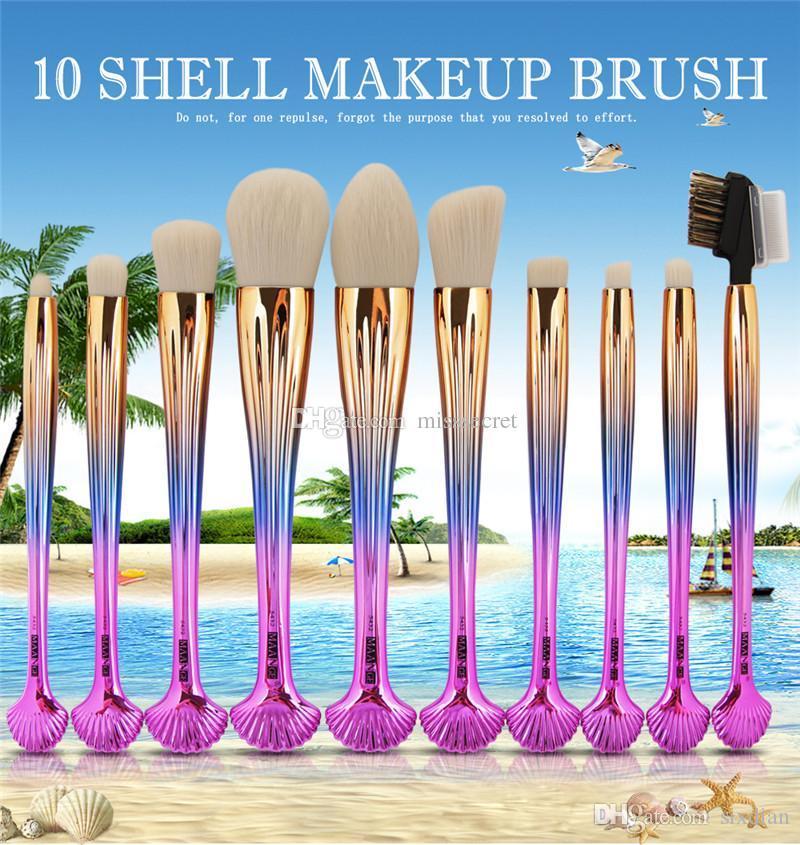 10 stücke Professionelle Shell Make-Up Pinsel Set Foundation Gesicht Lidschatten Pulver Lip Blush Contour Kosmetik Bilden Werkzeuge