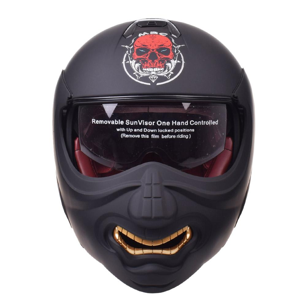Flip Up Capacete Modular Helmet Motos Chopper Retro Biker Cruiser Vintage Crânio Rosto Helmets