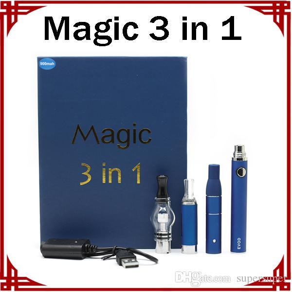 Magic 3 в 1 Наборы сухого травы Vaporizer стекло глобус Evod стартовый комплект E-сигареты батареи Vape Pen