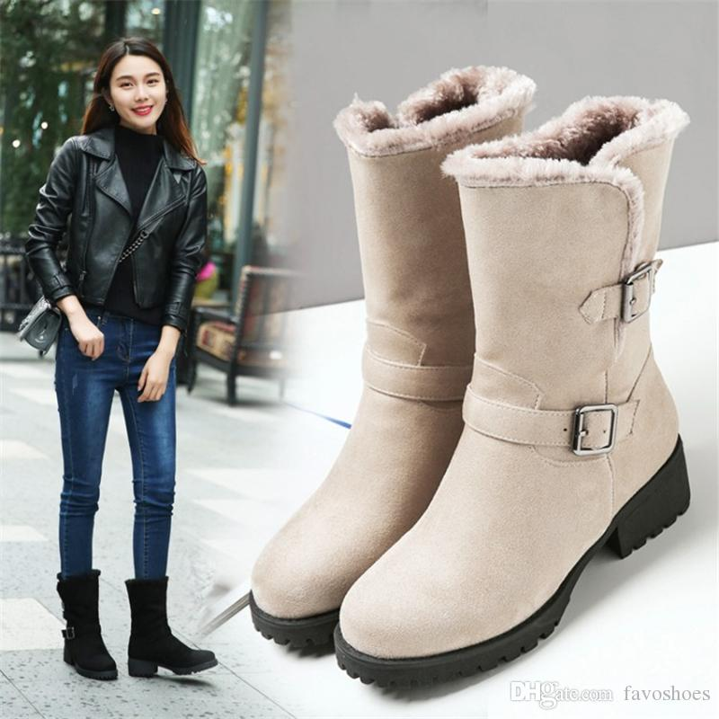 7 Color Women/'s Wedge Boots High Heel Shoes Winter Mid Calf shoes All Size Hot