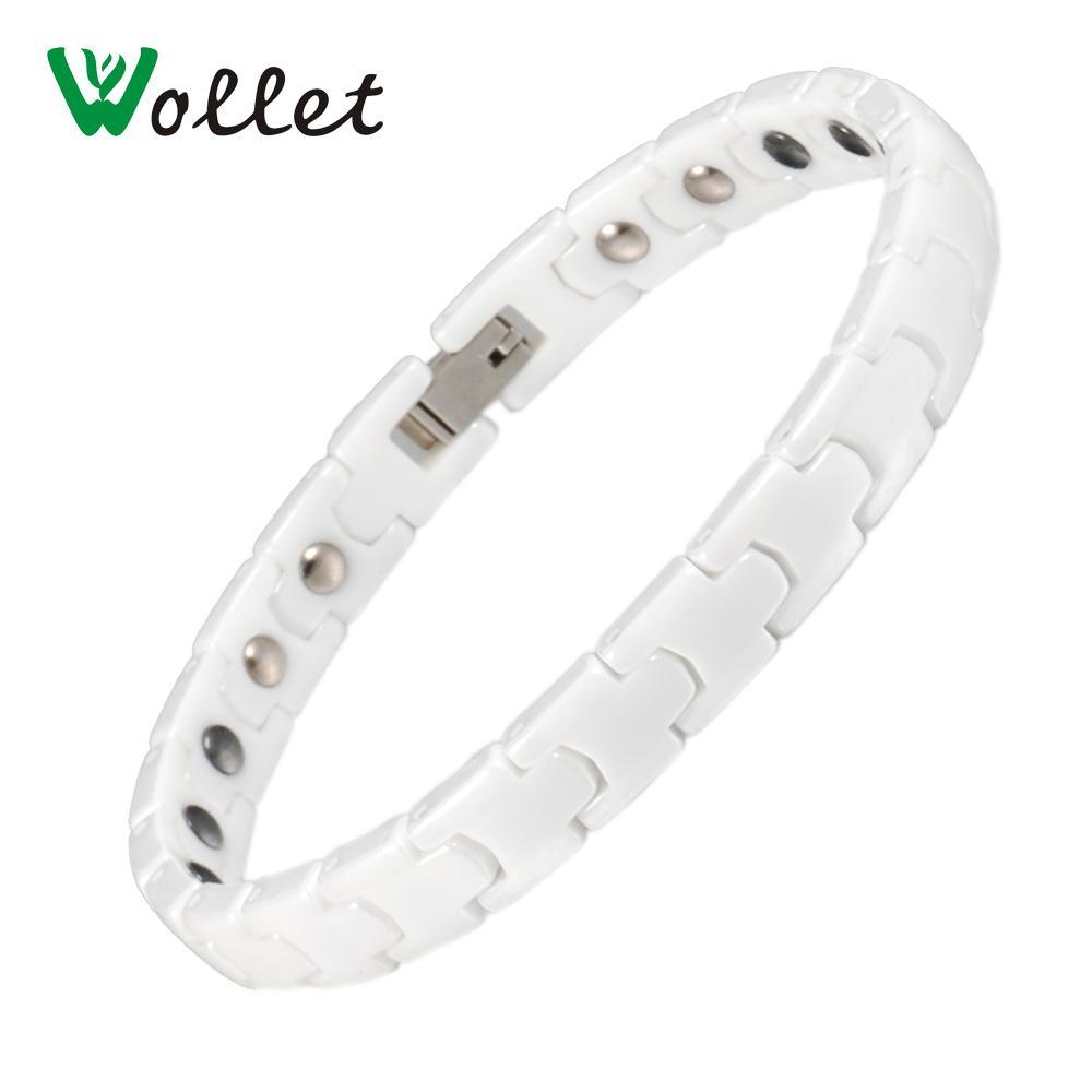 Wollet Bijoux Corée Conception Santé Germanium Hématite Bracelet Bracelet Magnétique Blanc En Céramique Pour Femmes Hommes Couple Bracelet C18111601