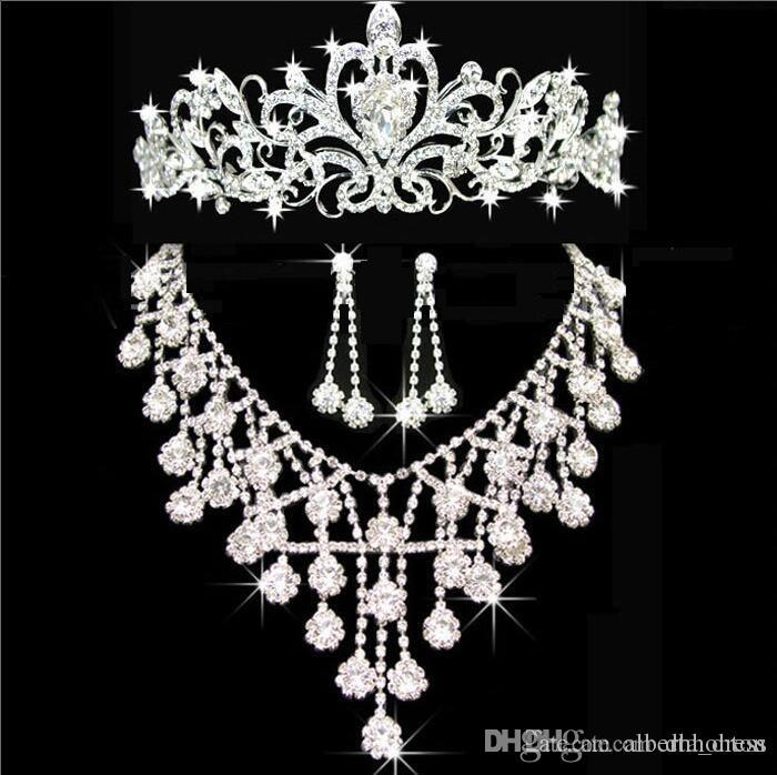 Diademi oro diademi corone matrimonio gioielli capelli neceklace orecchino a buon mercato all'ingrosso moda ragazze sera prom partito abiti da regalo di natale