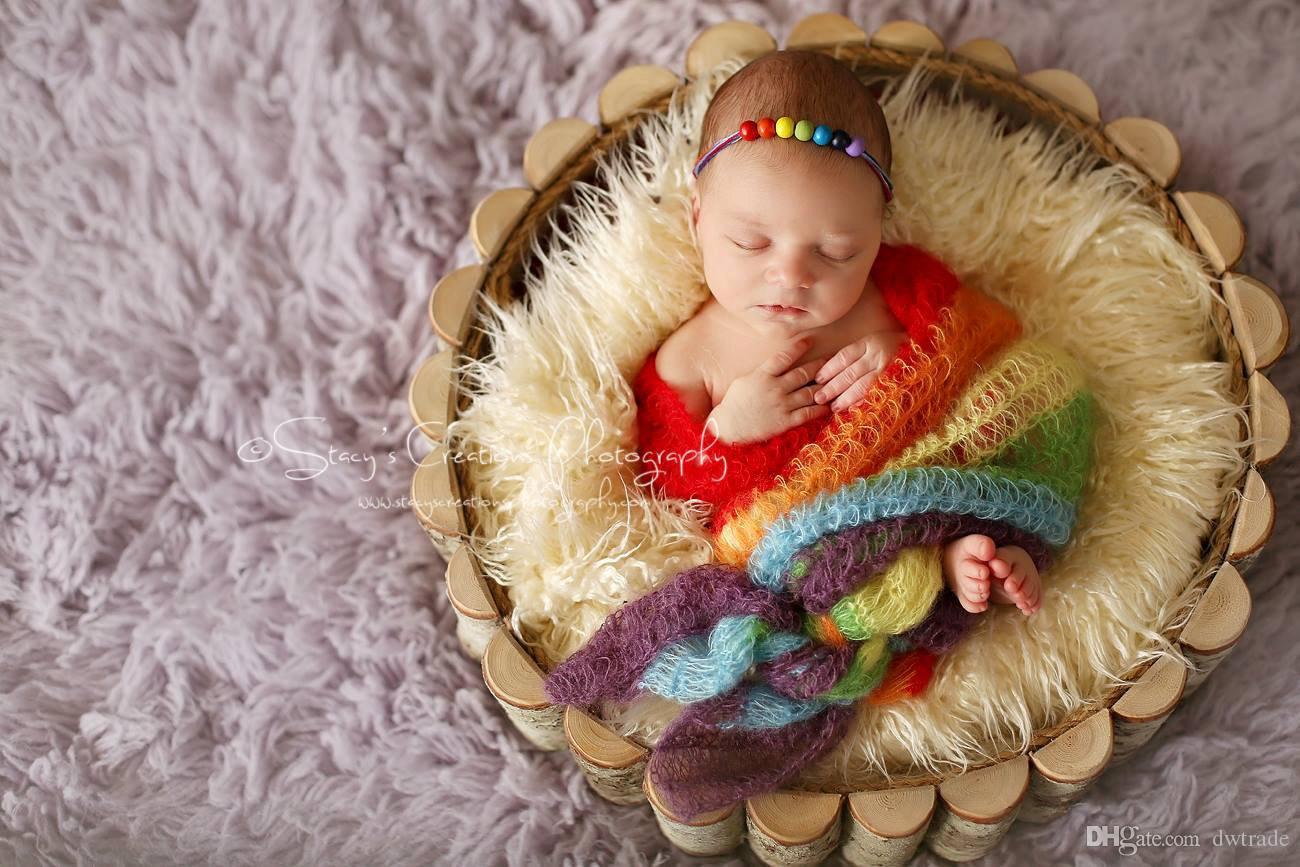 Renkli Tiftik Yenidoğan Bebek Wrap Bez Çocuk Uyku Tulumu Fotoğraf Sarıcı Dolunay Bebek Fotoğraflı Bez 40 * 150 cm 2 renkler