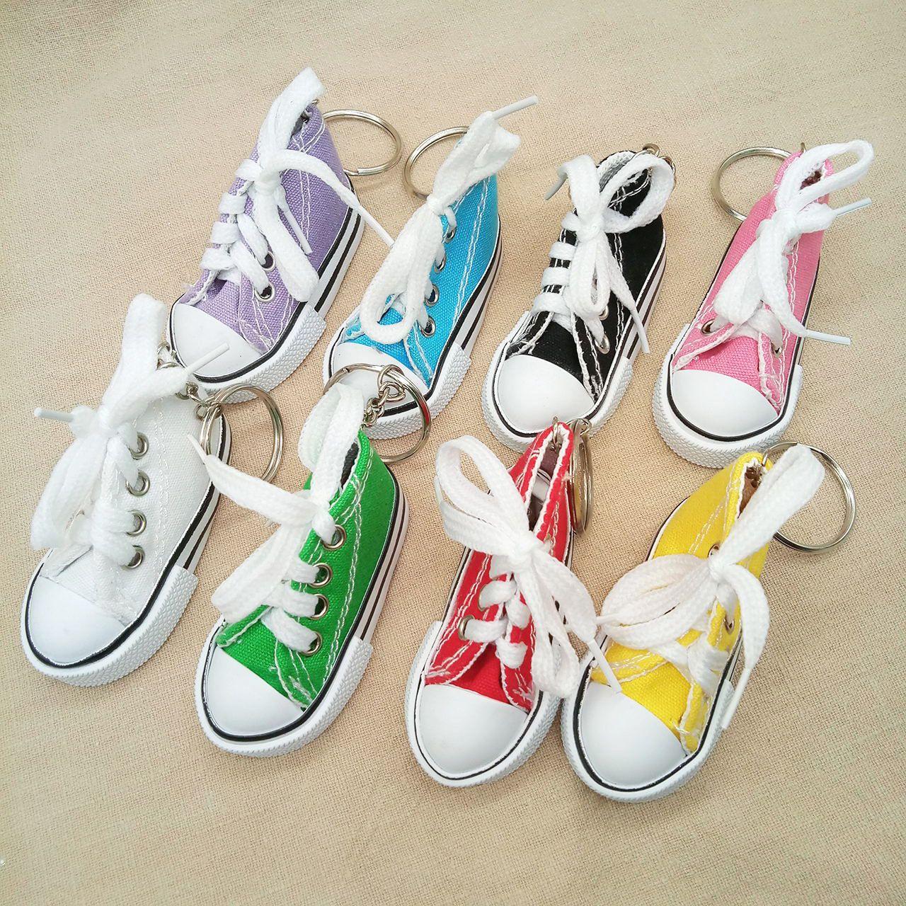 3D Novelty Canvas Sneaker Tennis Shoe Keychain Key Chain Party Jewelry 100pcs random colors send YYA1069
