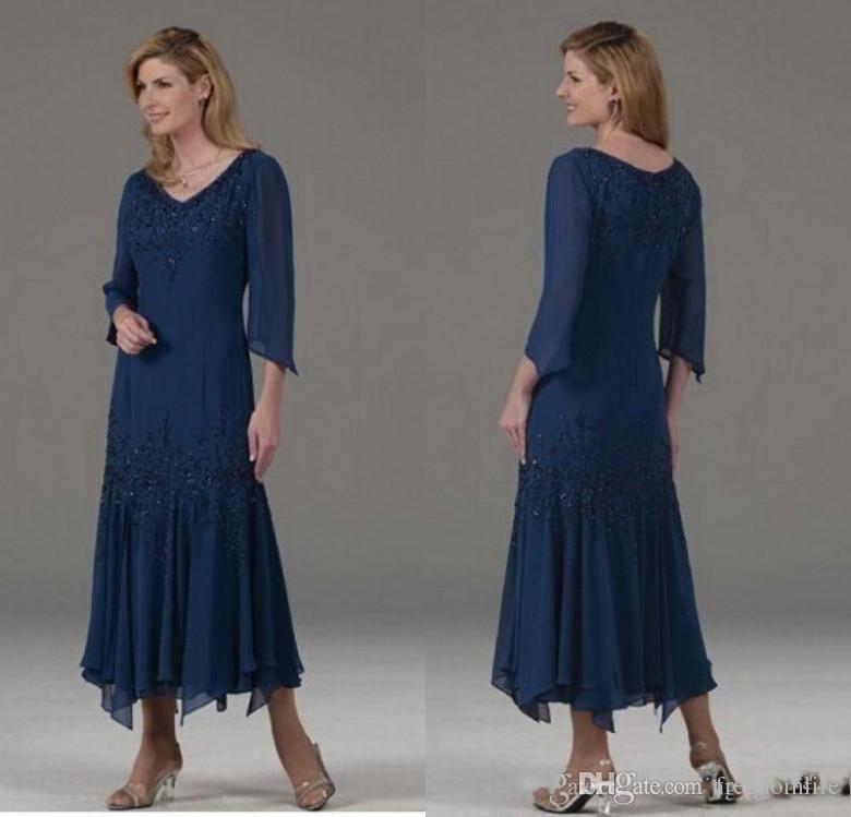 Resmi Kısa Anne Gelin Elbiseler V Yaka 3/4 Uzun Kollu Boncuk Şifon Akşam Elbise Parti Özel Anne Suit Önlük Giymek