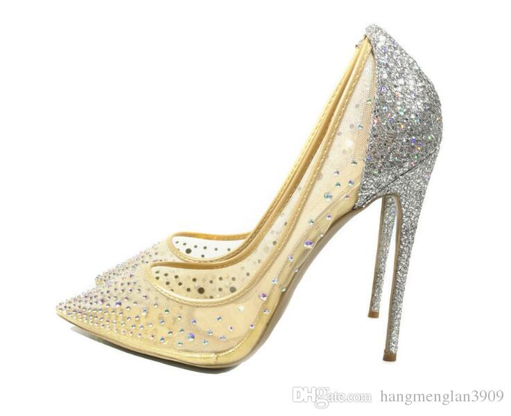 silver bling fashion design women's high heel pumps summer see through Party Wedding stiletto shoes 12cm thin heels Pointed diamonds