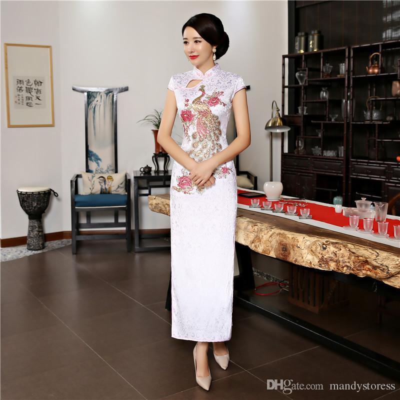 Fashion Long peacock Cheongsam Dresses 2018 Summer New Oriental Chinese style Women Silm Qipao dress Size M-3XL