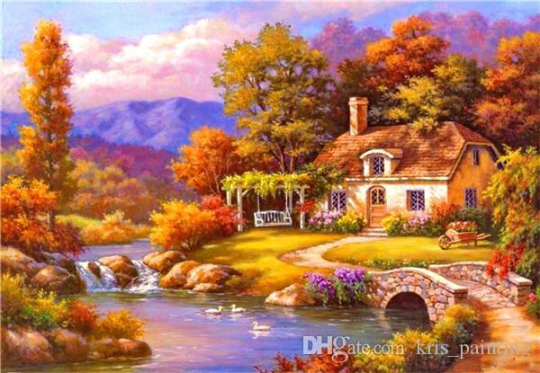 Strass plein carré diamants broderie paysage rivière villa diy diamant peinture point de croix kit maison mosaïque décoration zxh0610