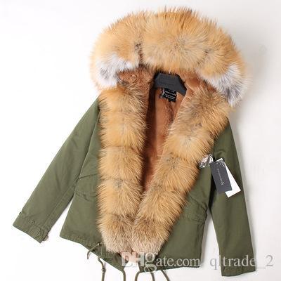 Pelliccia di volpe marrone di buona qualità Soglia assetto da donna cappotti invernali oro marrone volpe e pelliccia di coniglio fodera in tela verde militare mini parka