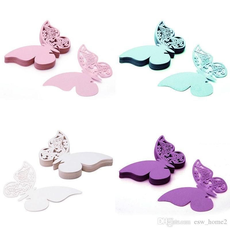 Table Mark Name Paper Laser Cut Cards Butterfly Shape Wine Glass Place Cards For Wedding Party Decoration