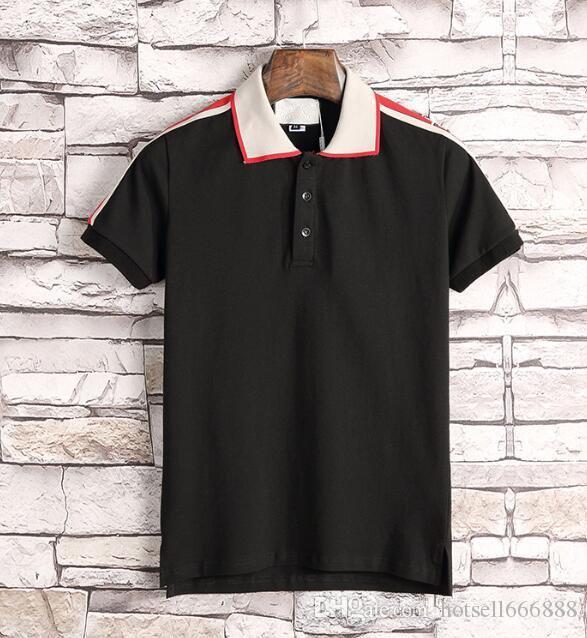 El nuevo diseñador de polos de los hombres de lujo del polo de los hombres ocasionales camiseta del polo de la serpiente abeja impresión de la letra del bordado de moda de la calle Mens Polos 777