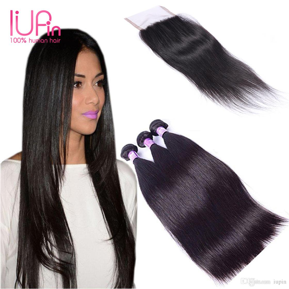 IUPin Hair Product Brazilian Straight Hair 3 Bundles with Lace Closure Grade 7A 100% Unprocessed Brazilian Virgin Human Hair Weave Bundles