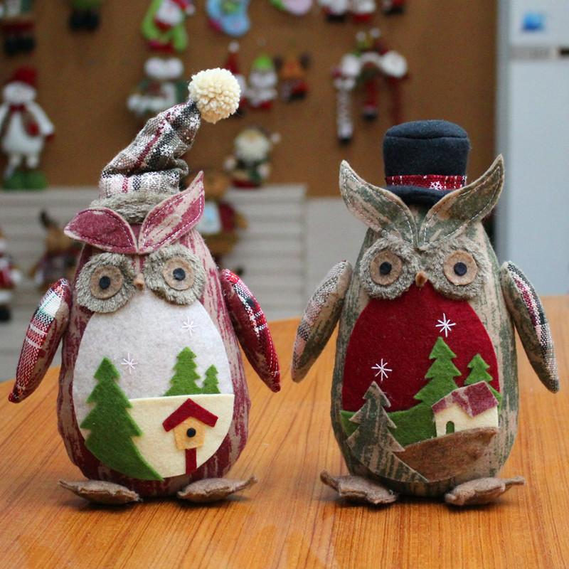 Creative Xmas Plush Owl Dolls Christmas Festival Ornaments Toys Children New Year Gifts for Home Decor Y18102909