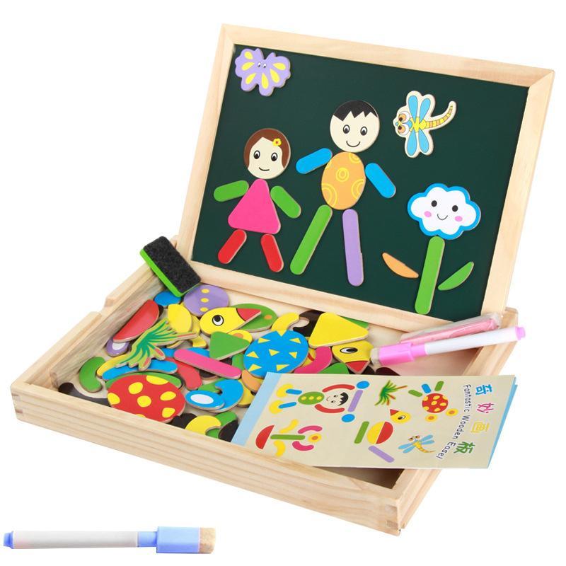 2018 Mambobaby de madera multifuncional bebé rompecabezas de la historieta del juguete tablero de dibujo magnético niños juguetes educativos primitivos rompecabezas 3D