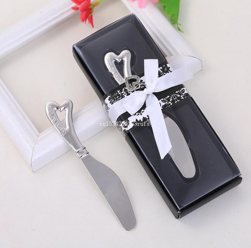 100 قطع شكل قلب زبدة سكين حزب الهبات نشر الحب المقاوم للصدأ زبدة سكين الزفاف تفضل والهدايا