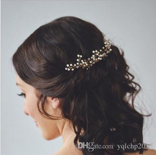 Accesorios para vestidos de novia en oro, plata, horquilla de novia, sombrerería de cristal nupcial