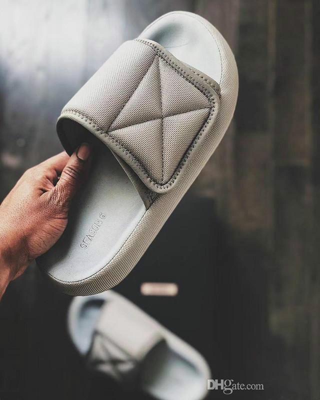 Nova chegada de alta qualidade Kanye West Season 6 Deslize NYLON SLIDES sandálias chinelos antiderrapante soleBread sapatos com caixa de sapatos Original