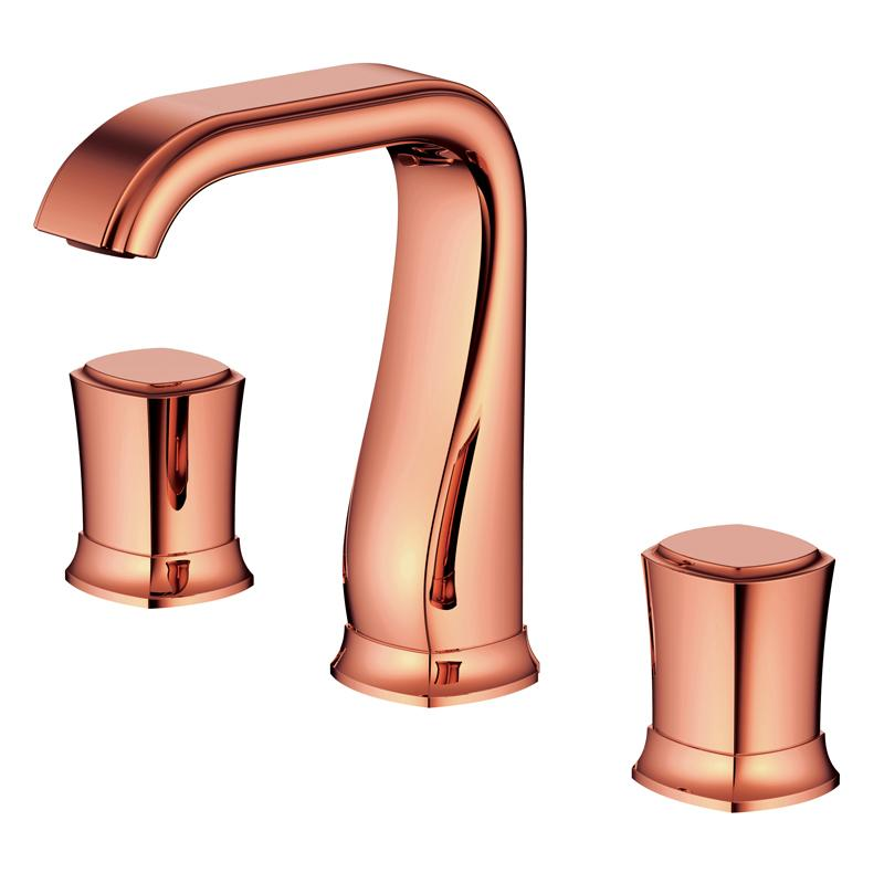 wholesale Split FaucetSoft Basin Brass Rose Gold Cold and Hot Switch Bathroom Bathing Shower Room Double Handle Three Holes Round MP