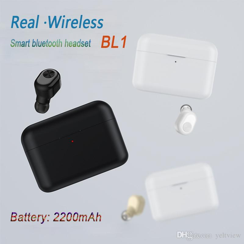 Yeni yükseltme 2200 mAh Şarj kutusu Kablosuz Bluetooth kulaklık kulakiçi Mini Görünmez BL1 Kulaklık Küçük Tek Kulaklık güç bankası olarak PK i7s