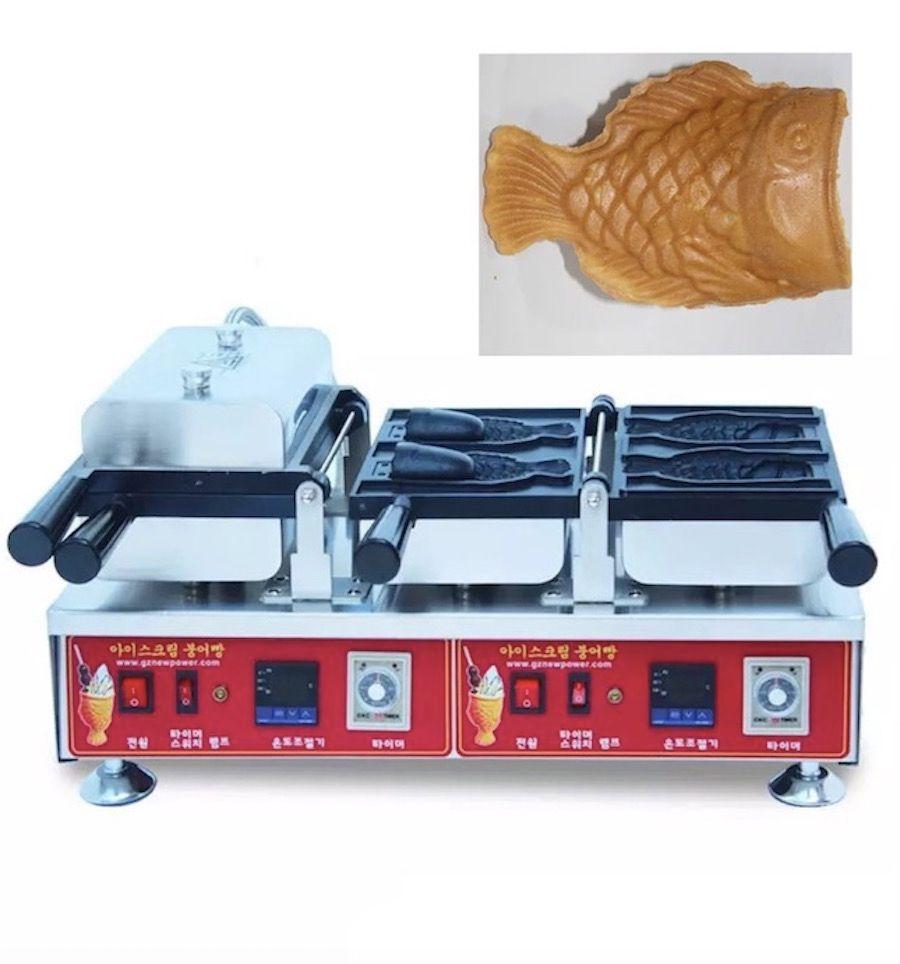 Dijital Dondurma Balık Şekli Waffle Baker Balık Waffle Makinesi Taiyaki Makinesi Açık Ağız Taiyaki Pan NP-742