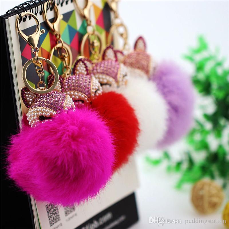 New Soft Fox Fur Ball Bell portachiavi borsa borsa pendente Catene chiave Car Charm