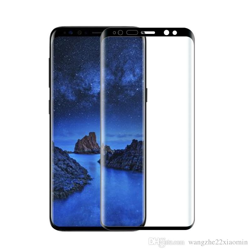100 pcs Wholesale Premium Screen Protector Tempered glass For Samsung Galaxy S9 S9 Plus 3D Curved Edge Full Cover Screen Protective Film