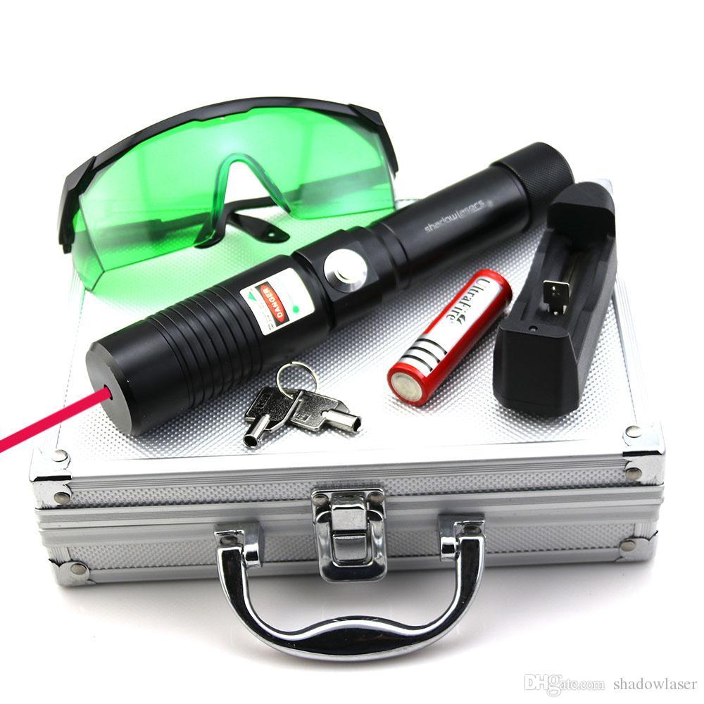 SDLasers RX1-0200 Messa a fuoco regolabile 650nm puntatore laser rosso con 1 * 18650 caricabatterie Goggles chiave di sicurezza e scatola di alluminio