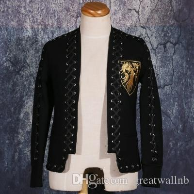 Freeeship Mens роскошные вышивка логотип красный ковер, показывающие куртку / студия / сценическая производительность Куртка / азиатский размер