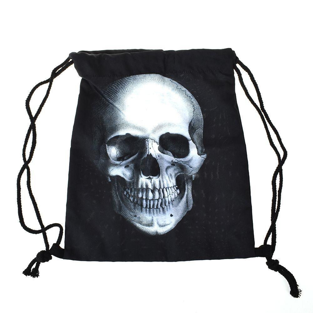 Высокое качество ткани Оксфорд Черный череп Глава Корзина путешествия хранения Пакет 3D Printed Урожай Drawstring рюкзак