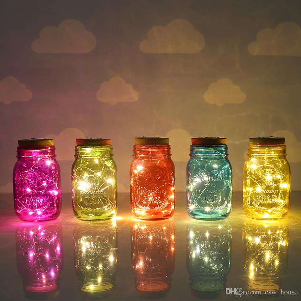 LED Mason Jar Pokrywa LED Słoneczna Bajka Lekka Wkład Słoneczny Kolor Zmiana Ogrodowa Decor Boże Narodzenie Wedding Party Decoration