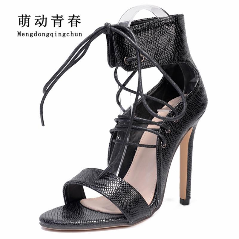 2018 femmes chaussures à talons hauts gladiateur peep toe chaussures de soirée femmes mode lacets croisées attachées serpent imprimé sexy hauts talons pompes
