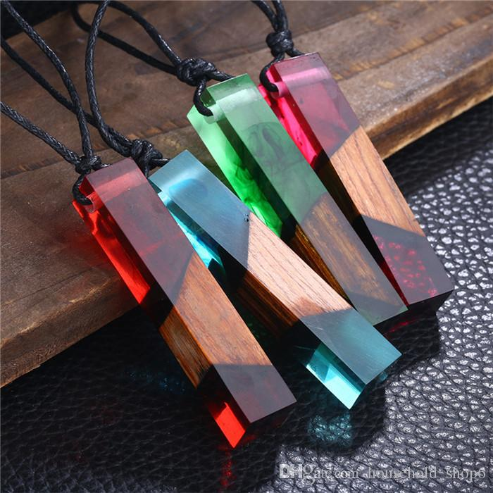 Vintage Resin Wood Color Random colorful pendant Handmade Chain Necklace Rope