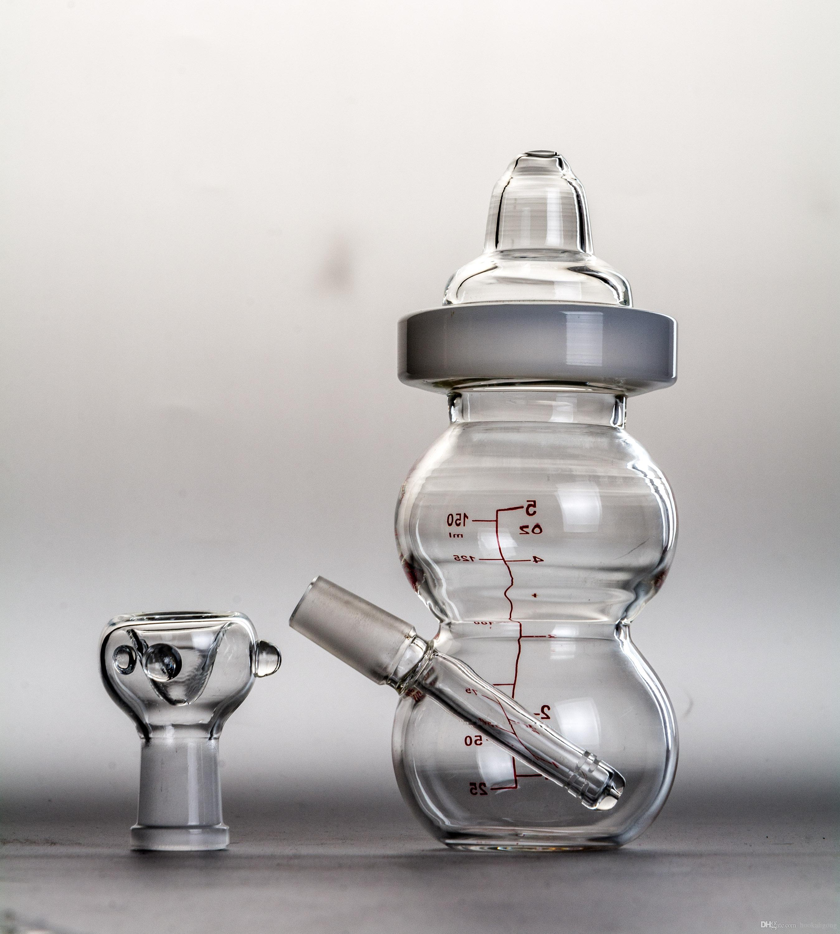 New Fab Egg Baby Bottle Oil Rigs water pipe glass bongs with pinholes diffusor with 14.5mm joint sturdy quality glass dab rigs