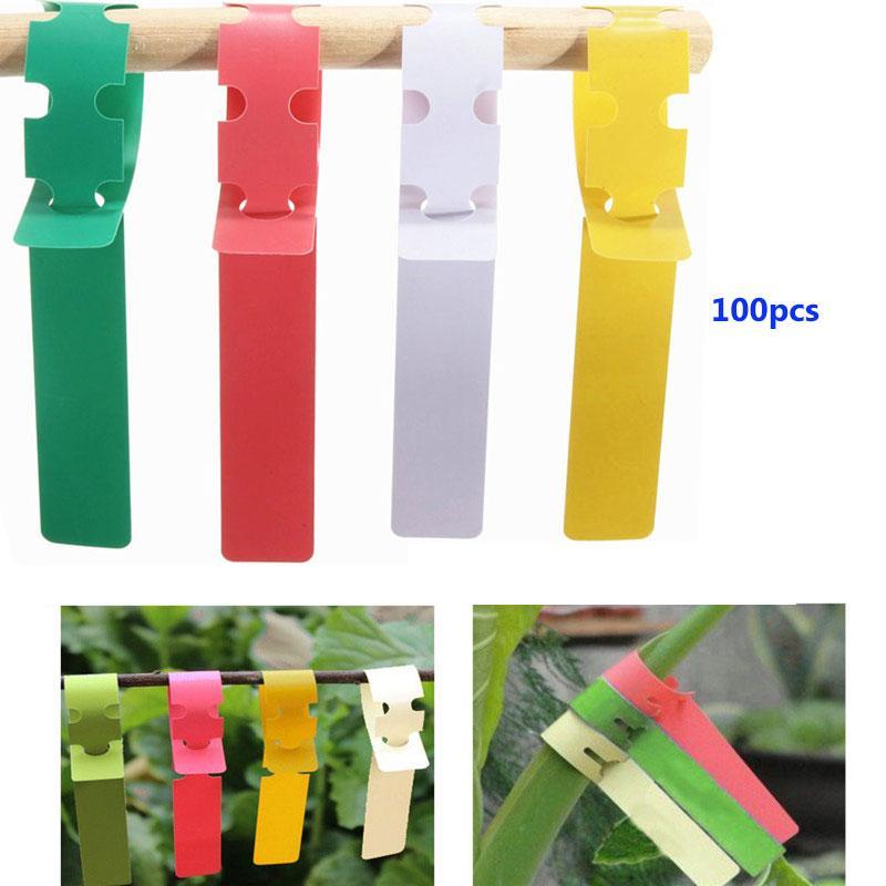 10set / 100pcs Usine en plastique imperméable Étiquettes suspendues Étiquettes de jardinage pour pépinière 2x20cm Étiquette de jardinage pour l'outil de décoration de jardin de plantes