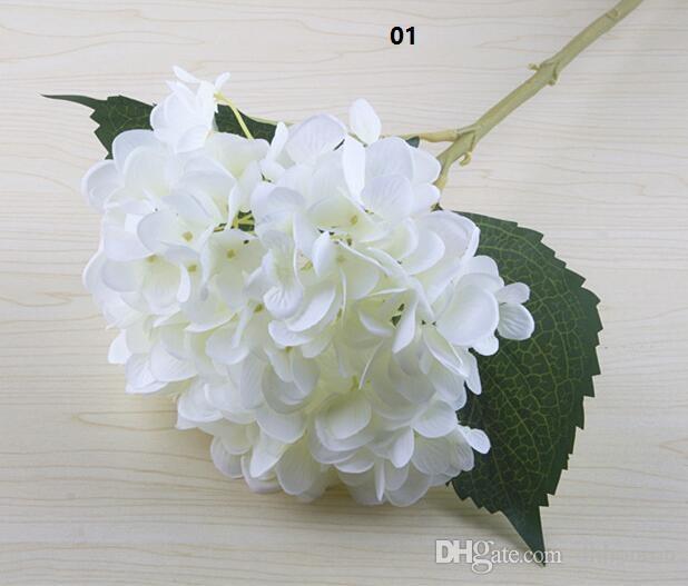 Artificial Hydrangea Flower Head 47cm Fake Silk Single Hydrangeas for Wedding Centerpieces Home Party Decorative Flowers wedding SF020