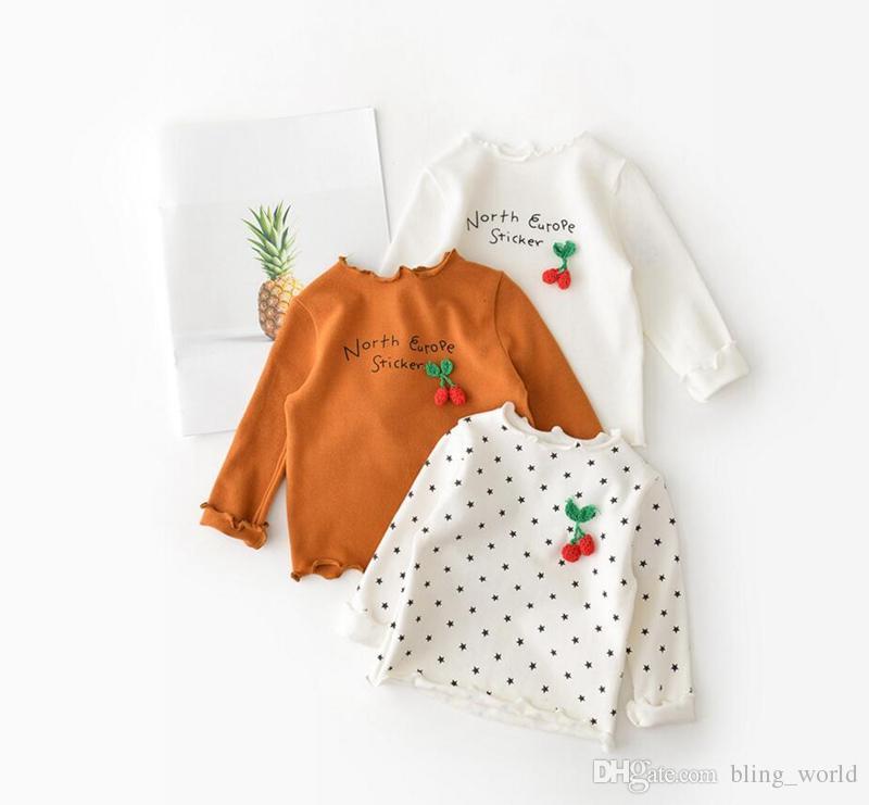 Bébé Filles Vêtements Strawberry Design T-Shirt Star Imprimé Chemises À Manches Longues Col En Dentelle Tops Enfants Printemps Automne Vêtements LM91