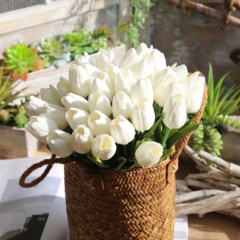 صغيرة وهمية الزنبق الديكور الاصطناعي الحرير توليب الاصطناعي زهور الزنبق للديكور المنزل باقات الزفاف توليب
