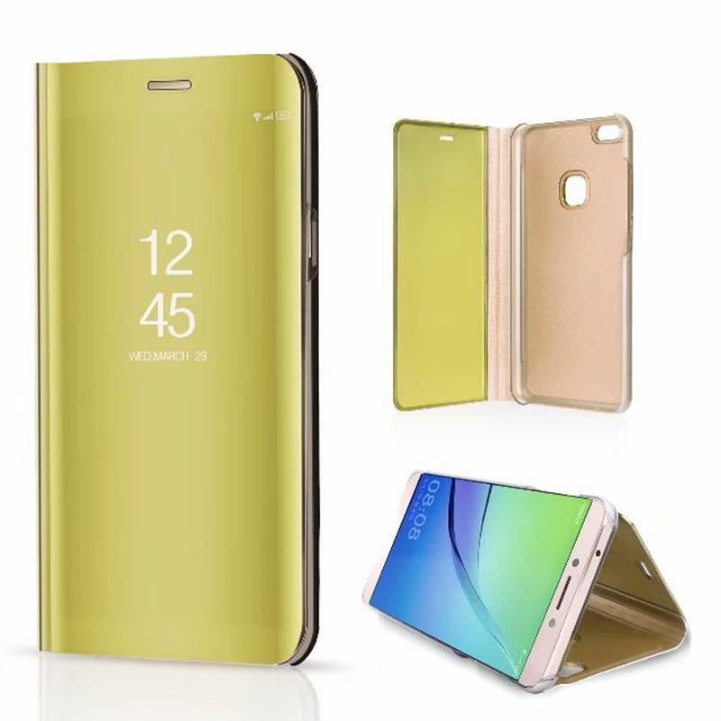 100 pz Specchio Clear View Flip Cassa del telefono per Huawei P10 Lite Y5 Y5 prime Y6 Y6 prime Pro Y7 2018 Y7 prime Copertura del telefono con Placcatura