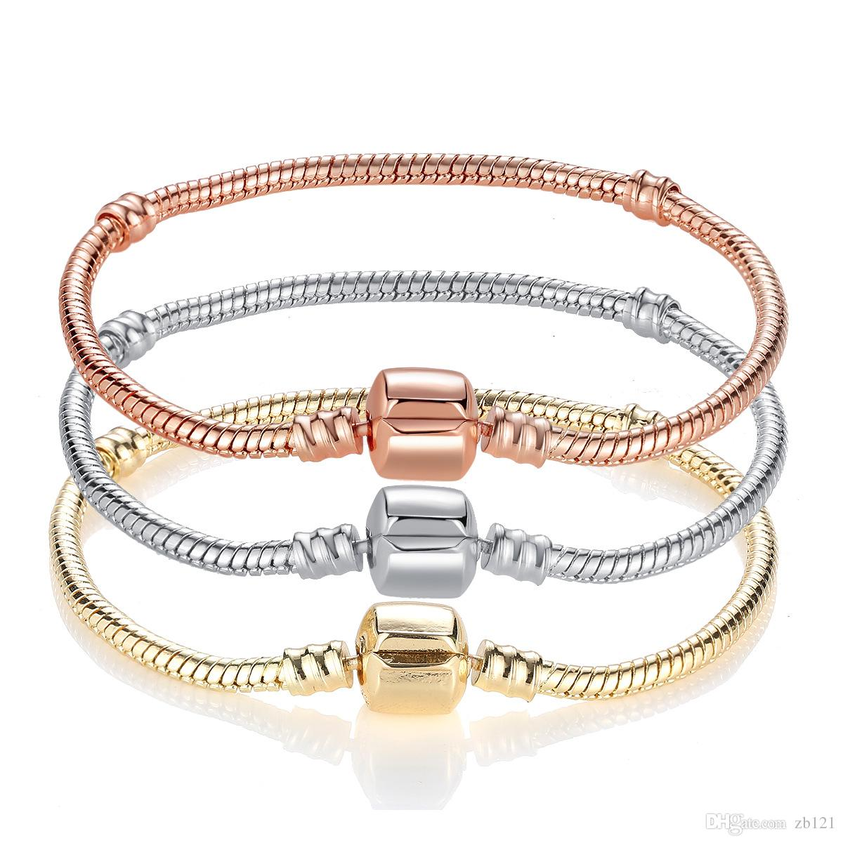 Wholesale-2018 925 Sterling Silver 3mm Snake Chain Fit Pandora Bracelet Charm Bead Bracelet Gift For Men Women 17~21cm