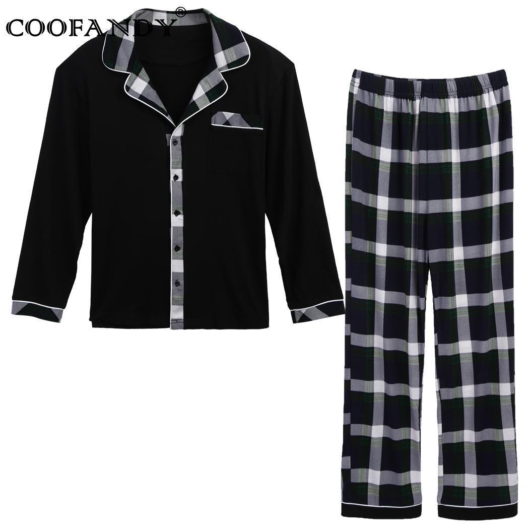 Conjunto de gola manga comprida e parte superior calça pijama bolsos entalhado xadrez homens