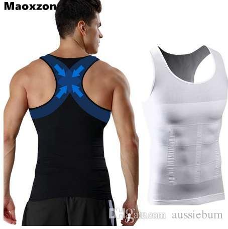 Maoxzon Mens Body Shapers Fitness Tank Tops 섹시한 탄성 뷰티 복부 타이트한 피팅 언더웨어 슬리밍 속옷 모양 조끼