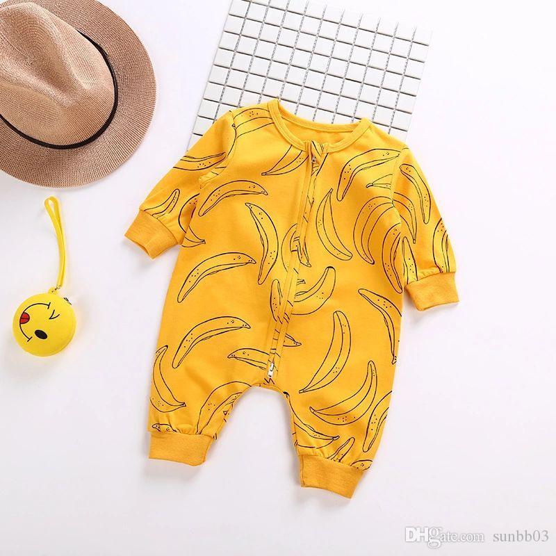 Ins Bahar Sonbahar Bebek Bebek Tulum Muz Fil Erkek Kız Pamuk Tulum Çocuk Bebekler Uzun Kollu Elbise Tırmanmaya 14124