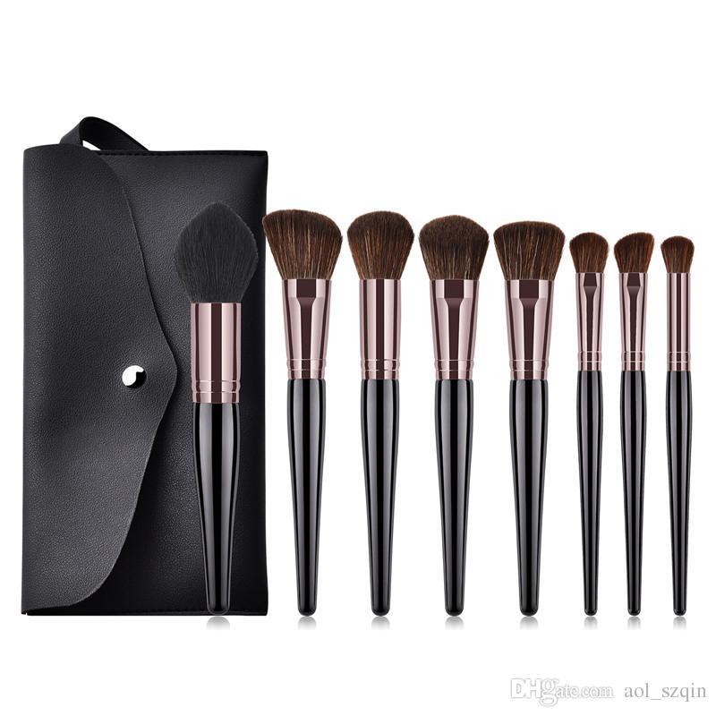 Pro 8pcs Makeup Brushes Kit with PU Bag Makeup Brush Wood Black Handle Nylon Fiber Brush Set