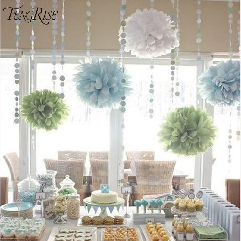FENGRISE 3pcs 20 25 30cm Wedding Tissue Paper Pom Poms Birthday Party Decorations Kids Crepe Artificial Flowers Wreaths Ball