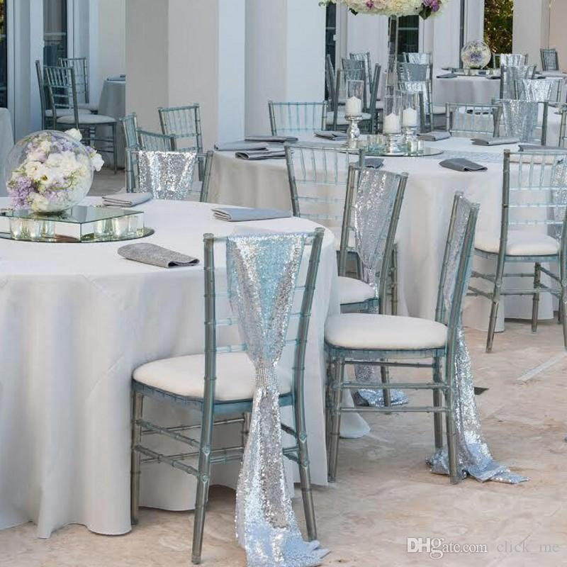 Cool 2019 Silver Sequined Wedding Chair Sashes Size 50 200 Cm Custom Made Wedding Party Decor Dazzling Chair Bows Chair Covers Customize From Click Me Ibusinesslaw Wood Chair Design Ideas Ibusinesslaworg