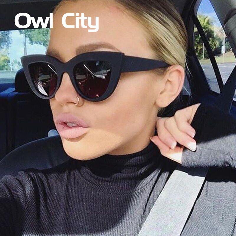 مدينة البومة القط العين النظارات النساء خمر السيدات مكبرة الرجعية ماركة مصمم النظارات الإناث الوردي مرآة نظارات uv400