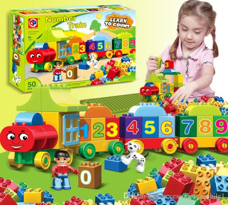 Building Blocks Plastic Digital Box 50 digital train car building blocks toys Children's Educational Intelligence Toys Safe Environmental