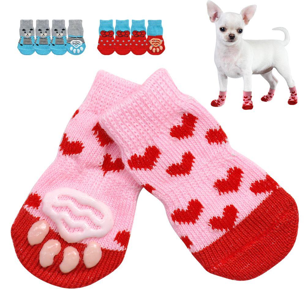 24 unids / lote zapatos lindos del perro de perrito antideslizante calcetines de punto perros pequeños gato zapatos Chihuahua botas para el desgaste interior de invierno resbalón en la pata protector